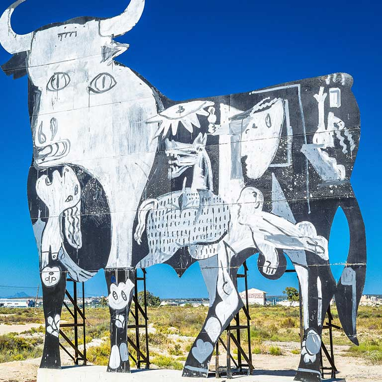 large art billboard of a cow