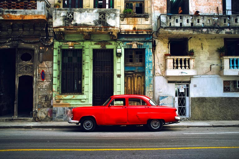 Vintage parked on the street in Havana, Cuba