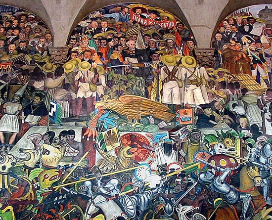 fragment of Diego Rivera's Murals depicting history of Mexico